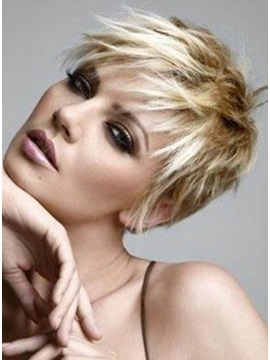 New Elegant Short Hairstyle Straight Light Human Hair Wig About 4 Inches