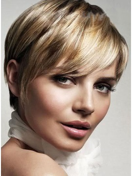 Short Hairstyle Elegant 100 Human Remy Hair Cheap Wig About 6 Inches