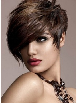 100 Remy Human Hair Short Straight Wig About 8 Inches