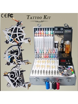 Tattoo Kit With 3 Gun Machines 28 Inks Set Lcd Power Supply Green Soap Needles Diy 167