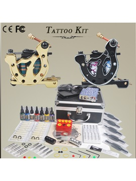 Cheap Tattoo Kit With 2 Guns 7 Colors Ink Needles Grips With Carrying Case Diy 159