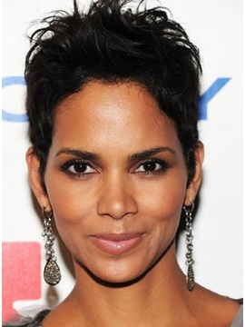 Custom Halle Berry Hairstyle Super Short Straight Human Hair Full Lace Wig 5 Inches