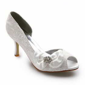 Upper High Heel Open Toes With Flower Rhinestone Wedding Bridal Shoes