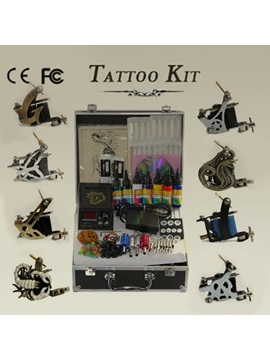 Top Quality Pro Complete Tattoo Kit Set With 8 Tattoo Guns And 1 Power Pack And 7 Inks Needles