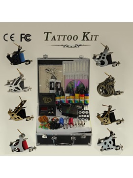 Top Quality Professional Tattoo Kit With 8 Tattoo Machines And 1 Lcd Power Supply And 7 Inks Needles