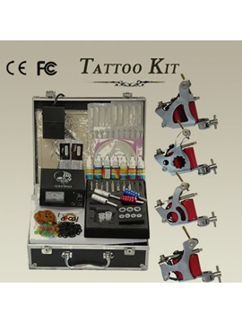 High Quality Tattoo Kits For Pros With 4 Tattoo Machines And 1 Power Box 7 Inks And Needles