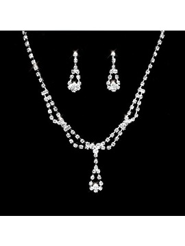 Faddish Simple Alloy With Rhinestone Wedding Jewelry Set Including Necklace And Earrings
