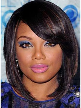 African American Popular Hairstyle Medium Silky Straight Natural Lace Wig About 10inches