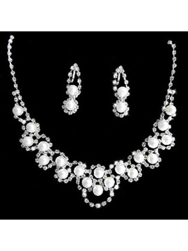 Gorgeous Alloy With High Quality Pearl Wedding Jewelry Set Including Necklace And Earrings