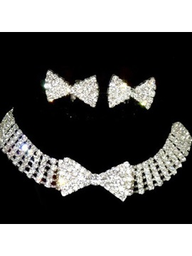 Alloy With Rhinestone Wedding Jewelry Set Including Necklace And Earrings