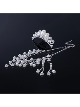 Alloy With Pearl Wedding Jewelry Set Including Tiara Necklace And Earrings