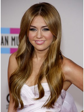 Custom Miley Cyrus Charming Hairstyles Long Wavy Natural Lace Wig About 22 Inches