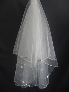 Tidebuy Elbow Wedding Veil With Beaded Edge