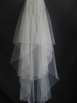 Elbow Style Wedding Bridal Veil With Beaded Edge