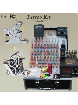 2 Stainless Guns Tattoo Kit With 40 Inks Power Supply Needles Supply
