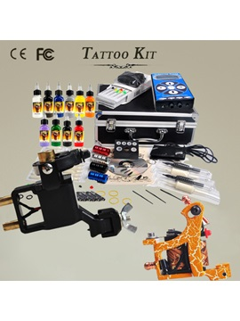 Complete Tattoo Kit With 2 New Guns 10 Inks Needles