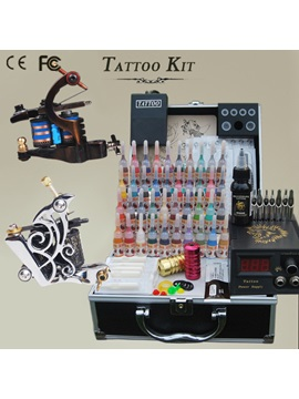 2 Guns Tattoo Kit With Power Supply And 40 Inks For Artist