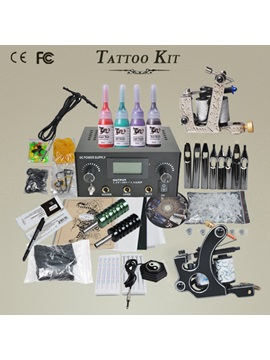 New 2 Top Guns Tattoo Kit With Lcd Power Supply And 4 Inks