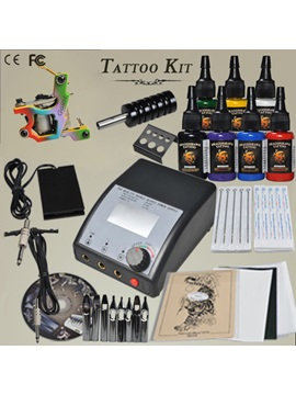 1 Cast Iron Gun Tattoo Kit With Lcd Power Supply 7 Inks Needles Supply