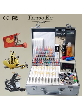 New Design 3 Guns Tattoo Kit With Power Supplies And 54 Color Inks
