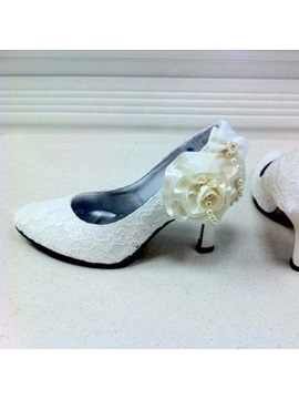 Elegant Lace Upper Stiletto Heel Pumps Slingbacks With Freshwater White Pearls Wedding Party Shoes