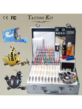 Complete Tattoo Kit With 3 Best Guns Machine Power Supply And Needles