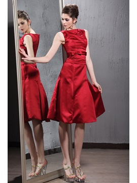 A Line Scoop Neckline Knee Length Patricias Bridesmaid Dress