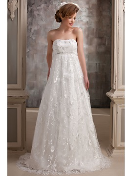 Gorgeous Lace Strapless Empire Beaded Court Darias Wedding Dress