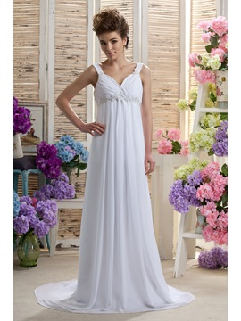 Empire Straps Floor Length Beading Darias Court Wedding Dress