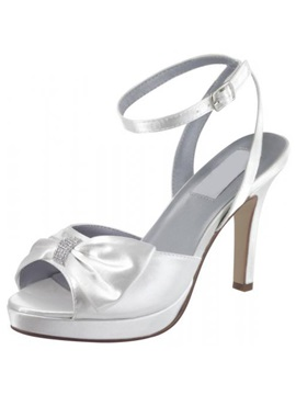 Satin Upper Stiletto Heel Peep Toes With Bowknot Wedding Shoes