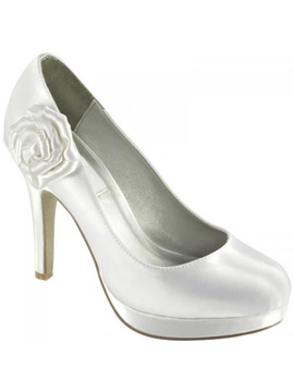 Upper Stiletto Heel Closed Toes With Flower Wedding Shoes