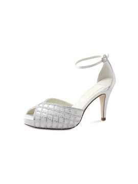 Charming Peep Toes With Rhinestones Leatherette Upper Stiletto Heel Wedding Shoes