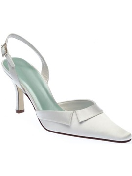 Satin Upper Stiletto Heel Closed Toes Sling Back Wedding Shoes