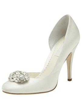 Top Quality Leatherette Upper Stiletto Heel Closed Toes With Rhinestone Wedding Shoes