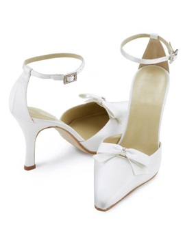 Leatherette Upper Stiletto Heel Pumps With Rhinestone Wedding Bridal Shoes