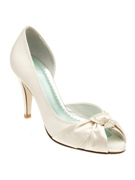 Popular Leatherette Upper Stiletto Heel Peep Toes With Bowknot Wedding Shoes