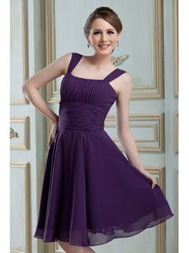 Classic A Line Square Neckline Straps Pleats Knee Length Nadyas Bridesmaid Dress