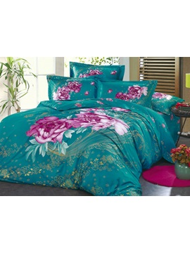 Cotton 4 Piece Aubergine Peony Active Printing Comforter Bedding Sets