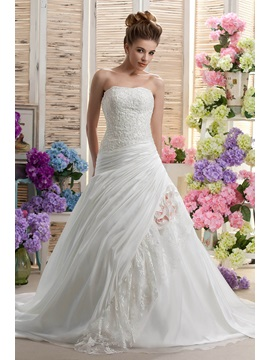 Strapless A Line Sleeveless Beading Applique Chapel Darias Wedding Dress