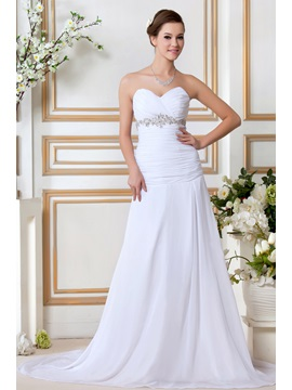 Sweeping Train Sweetheart Strapless Beading Sandras Wedding Dress