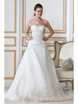 Gorgeous A Line Sweetheart Strapless Chapel Train Embroidery Sandras Wedding Dress
