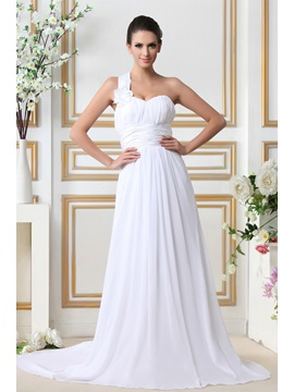 Gorgeous One Shoulder Informal Empire Sleeveless Chapel Tarin Beach Talines Wedding Dress