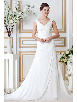 Classical A Line Appliques V Neck Chapel Sandras Wedding Dress