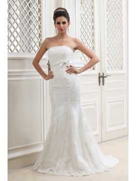 Pretty Trumpet Mermaid Strapless Court Lace Talines Wedding Dress