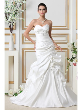 Fashion Mermaid Trumpet Sweetheart Chapel Train Talines Wedding Dress