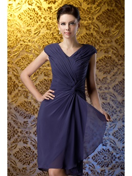 Fashion Ruched Column V Neck Knee Length Polinas Mother Of The Bride Dress