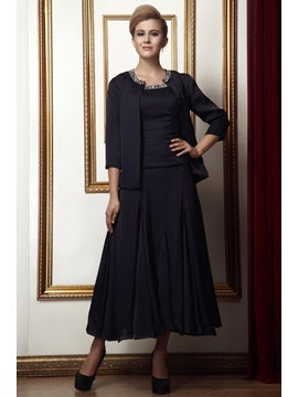 Elegant A Line Beaded Scoop Tea Length Sleeveless Alinas Mother Of The Bride Dress With Jacket Shawl