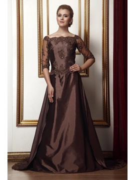 Attractive A Line Lace Pleats Off The Shoulder Floor Length Alinas Mother Of The Bride Dress