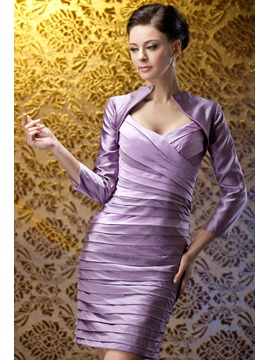 Fabulous Beading Pleats Sheath Column Sweetheart Neckline Polinas Mother Of The Bride Dress With Jacket Shawl