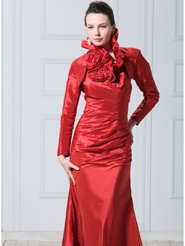 Long Sleeve Red Flower Wedding Jacket Wraps